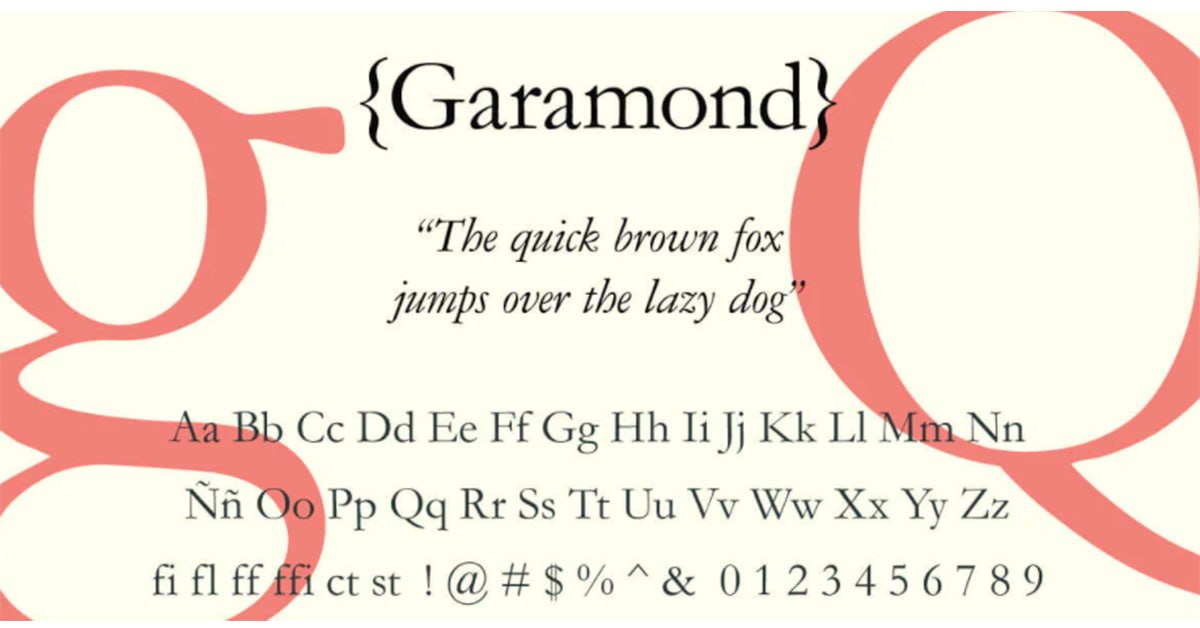 tipografia garamond